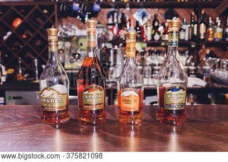 Ufa, Russia, 3 January, 2020: Design New And Old Ararat Brandy Bottles In Ararat Museum Factory. Yer