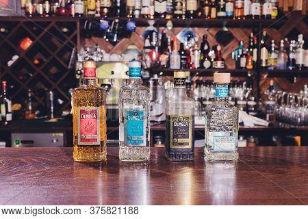 Ufa, Russia, 3 January, 2020: Olmeca Tequila In The Stror. Olmeca Tequila Is A Tequila Produced In J