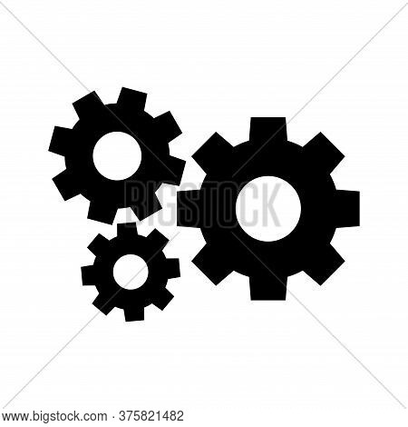 Cog Black For Mechanization Icon Isolated On White, Gear Symbol For Icon Progress Web, Machinery Ind
