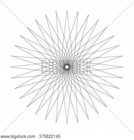 Line Star Shape Swirl Isolated On White, Radius Art Lines Star Swirl And Cycle Wave