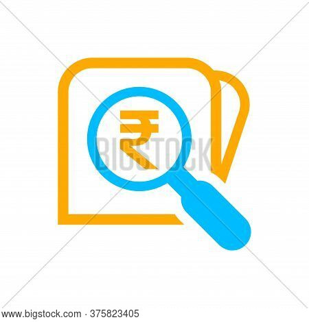 Magnifying Glass With Rupee Currency Money Search Icon, Rupee Coin With Magnifying Glass