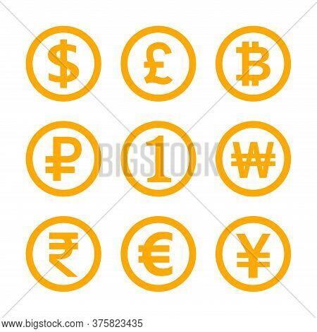 International Money Symbol Set Isolated On White, Currency Icon Yellow Gold, Money Currency Sign Dol
