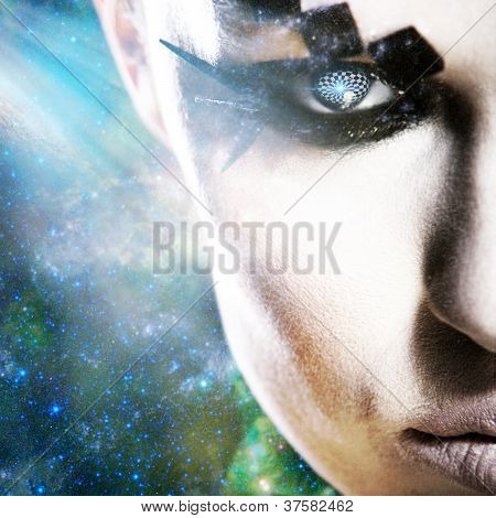 Alien Look, Abstract Female Portrait Against Space Backgrounds
