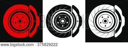 Car Brake Disc Icon. Brake Pads, Car Parts. Car Maintenance In The Workshop. Vector In A Flat Style