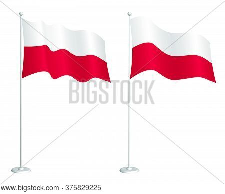 Flag Of Poland On Flagpole Waving In The Wind. Holiday Design Element. Checkpoint For Map Symbols. I