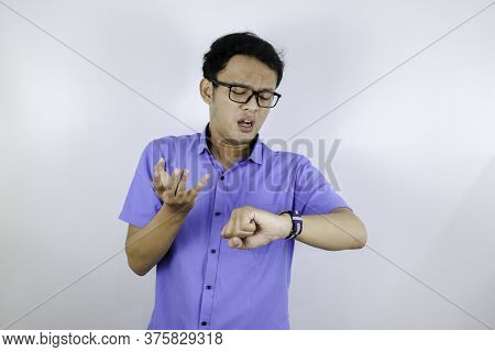 Being Late To Work And Deadline, Young Asian Man Is Time Delay And Late On Project. Executive Angry,
