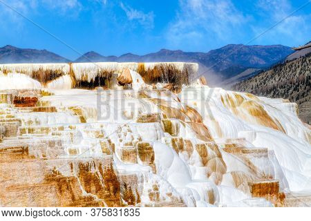 Close Up Of Hot Water Cascades Over The Travertine Terraces Of Canary Spring At Mammoth Hot Springs
