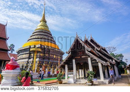 Lampang, Thailand, January 01 2020 : Landscape View Of Phra That Lampang Luang Ancient Lanna Temple