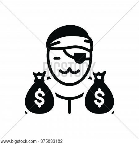 Black Solid Icon For Notorious Gangster Loot Cash Wage Thief Robber