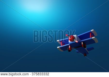 3d Illustration Of A Blue-red Airplane In Cartoon Style On A Blue Background. Funny Airplane Project