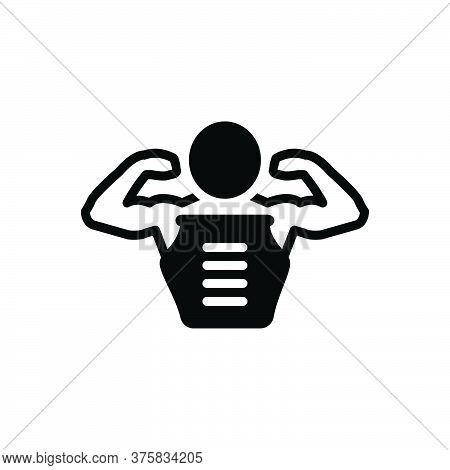 Black Solid Icon For Pectorals Body Muscle Man Skin Abdomen Bodybuilder Strong Physique Gym