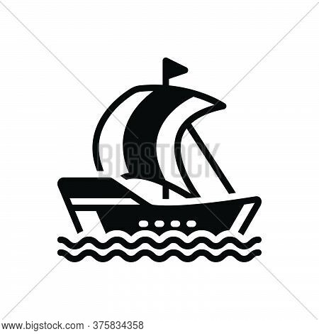 Black Solid Icon For Piratebay Sailing-ship Sailing Ship Sailboat Transportation Vintage Wave Silhou