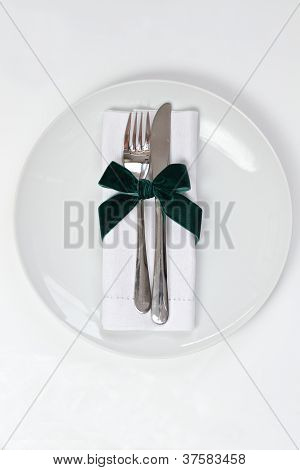 Plate With Knife And Fork for a Christmas theme