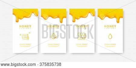 Vector Set Of Social Media Stories 3d Gold Liquid Honey, Gradient Drop Of Honey, Honeycomb, Honeybee