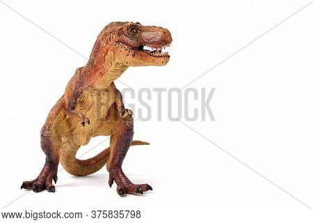 Brown Tyrannosaurus Dinosaurs Toy With Space Isolated On White Background.