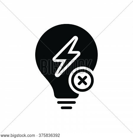 Black Solid Icon For Outage Electricity Power Flash Charge Energy Voltage Thunder Discharge Zigzag T