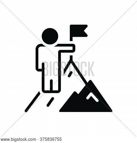 Black Solid Icon For Overcoming Win Vanquish Conquer Achievement Cliff Adventure Successful Mountain