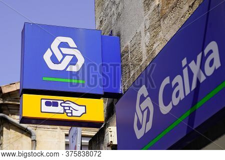 Lisbon / Portugal - 07 07 2020 : Caixa Geral De Depositos Logo And Text Sign Of Portuguese Bank And