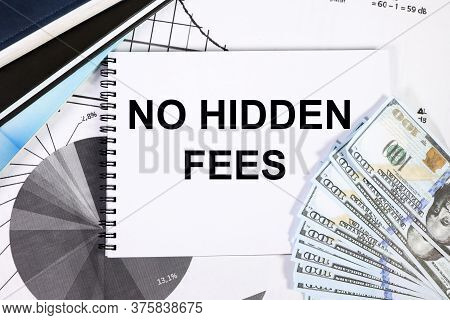 Text No Hidden Fees. No Hidden Fees Message. Concept Image. . On A White Background. Against The Bac