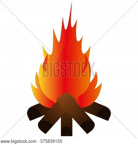 The Bonfire Burns Brightly. Vector Illustration. Isolated White Background. Hot Flame Of Fire. Ignit