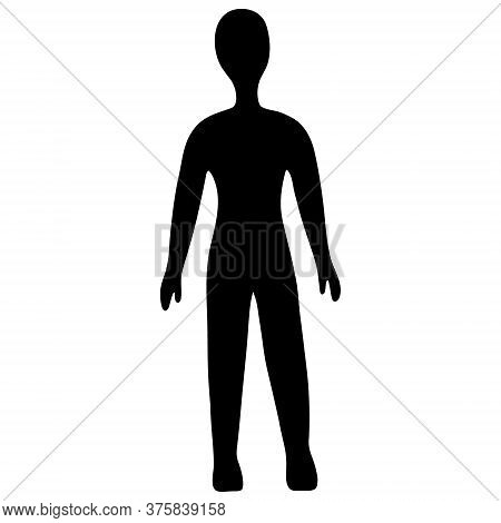 Silhouette Of A Man. Vector Illustration. Outline On An Isolated Background. Front View. Pattern In