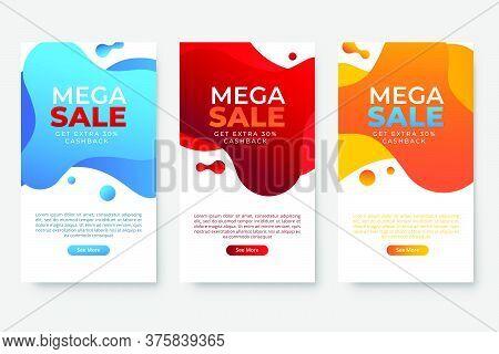 Set Of 3 Dynamic Modern Fluid Design For Mega Sale Banners. Sale Banner Template Design, Social Medi