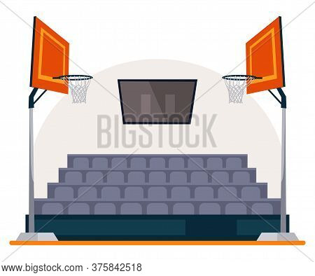 Basketball Field, Arena, Stadium, Court With Scoreboard On Ceiling, Two Basket Hoop And Seats In Fan