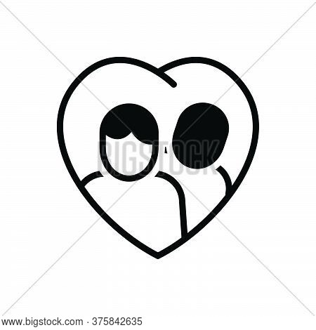 Black Solid Icon For Relationship Couple Duet Spouse Pair Love Person Family Heart Unity