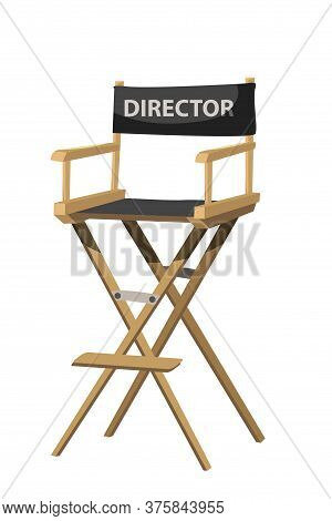 Movie Director Chair Vector Illustration. Filmmaker Armchair 3d Isolated Clipart On White Background