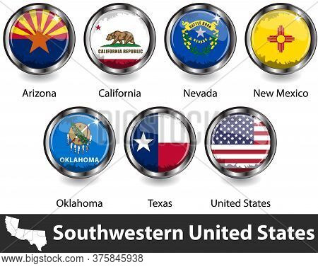 Flags Of Southwestern United States In Glossy Badges. Vector Image