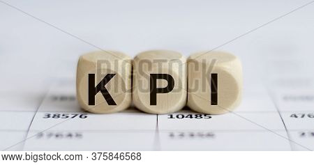 Text Kpi On A Wooden Cube Blocks