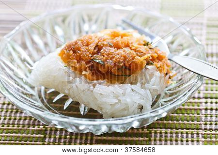 sticky rice with Minced fish Dessert food poster