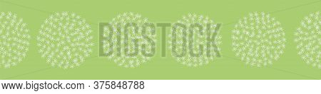 Row Of Dandelion Balls Vector Border Print. Surface Print Design For Embellishing Cards, Posters, An