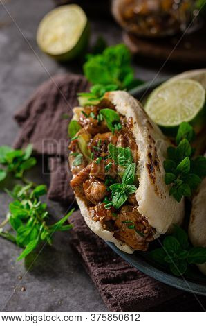 Homemade Pita Bread With Meat And Herbs