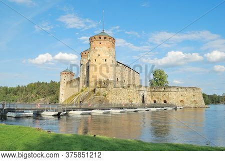 Finland. Ancient Savonlinna Architecture On A Sunny Summer Day