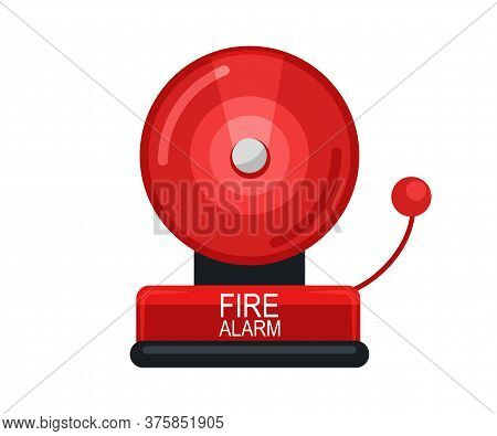 Red Fire Alarm System Signal Device Isolated On White. Prevention, Emergency, Warning Bell. Vintage