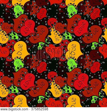 Love Design With Different Elements. Valentines Day Background On Red, Black And Yellow Colors. Vect