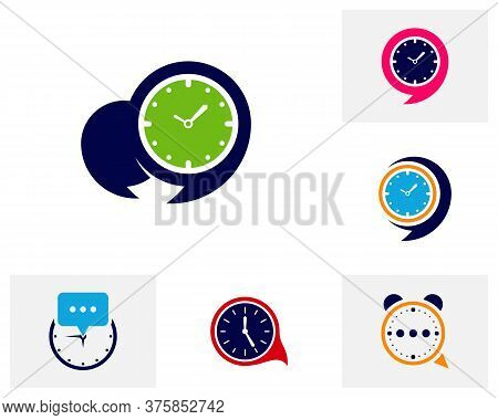Set Of Consult Clock Logo Design Concept Vector. Consult Time Management Logo Template. Concept Icon