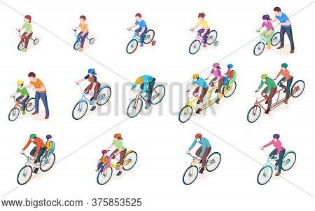 Set Of Man And Woman Bicyclist With Kid Or Child. Bicycle Transport. Triple And Double, Duo, Sport B