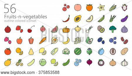 56 Fruits And Vegetables Colored Outline Icons For Instagram Profile, Web, Mobile App, Presentations