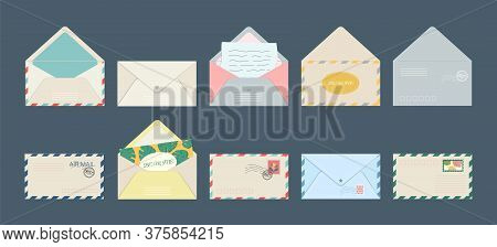 Set Of Isolated Postcard Envelope Postcards And Holiday Invitation Letters With Postage Stamps. Gree