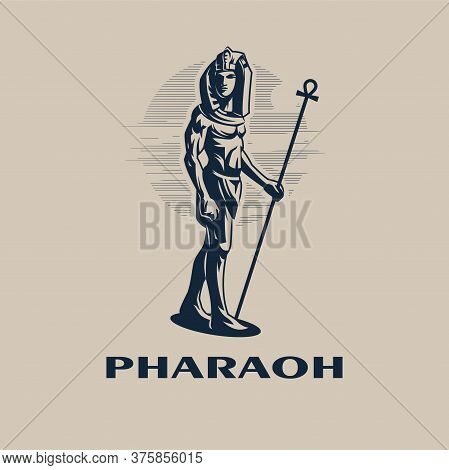 Egyptian Ruler Pharaoh. A Man Is A Traditional Egyptian Headdress And With A Staff In His Hand. Vect