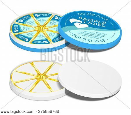 Vector Round Cardboard Container With Cream Cheese Sectors Sealed In Aluminum Foil Inside. Mockup Is