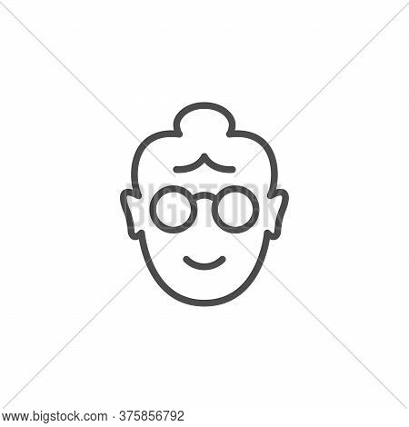 Old Woman Line Outline Icon Isolated On White. Grandmother Face. Pensioner, Elderly Human Avatar. Ve