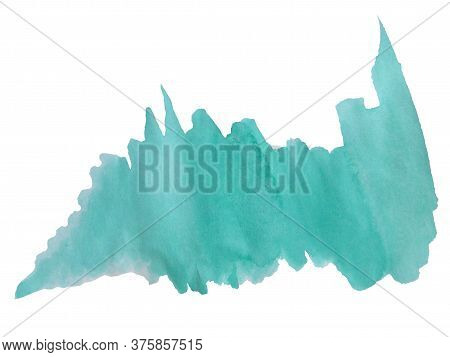 Watercolor Stain. Emerald Isolated Spot On A White Background For Text Design, Web. Watercolor Textu