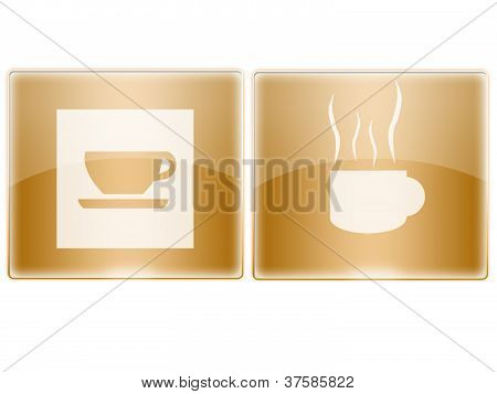 Glossy buttons - Coffee Cup