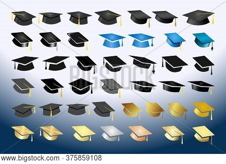 Great Collection Of Academic Hats. Creative Graduating Icons. Isolated Abstract Graphic Design Templ