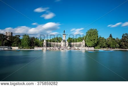 Great Pond And Monument To Alfonso Xii At The Retiro Park (parque Del Buen Retiro) In Madrid In Earl