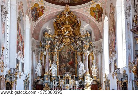 Ettal, Germany - Juky 25, 2018: Bavarian Lander, St.peter And Paul Church, The Frescoes And Ecoratio