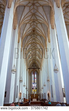 Munich. Germany - July 26, 2018:  The Imposing Central Nave Of The Cathedral Of Our Lady ( Also Know